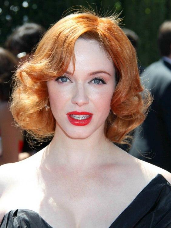 Christina Hendricks Neckline Length Red Hairstyle With