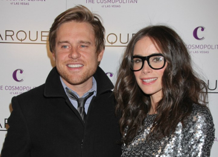Abigail Spencer with Andrew Pruett and wearing glasses