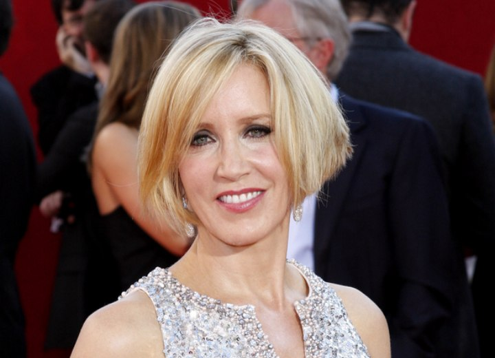 Just above chin length bob - Felicity Huffman