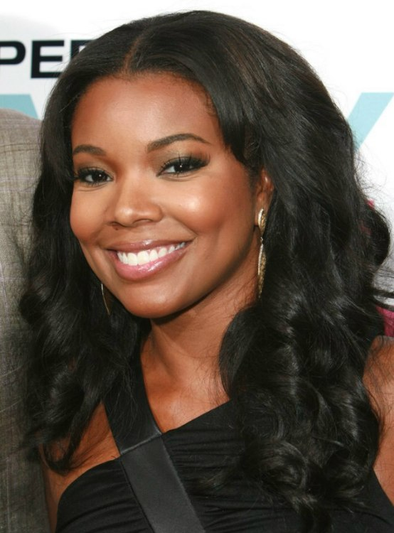 gabrielle union hair styles gabrielle union layered black hair with curls and 9557