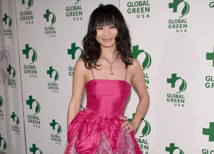 Bai Ling wearing a festive dress and hairstyle