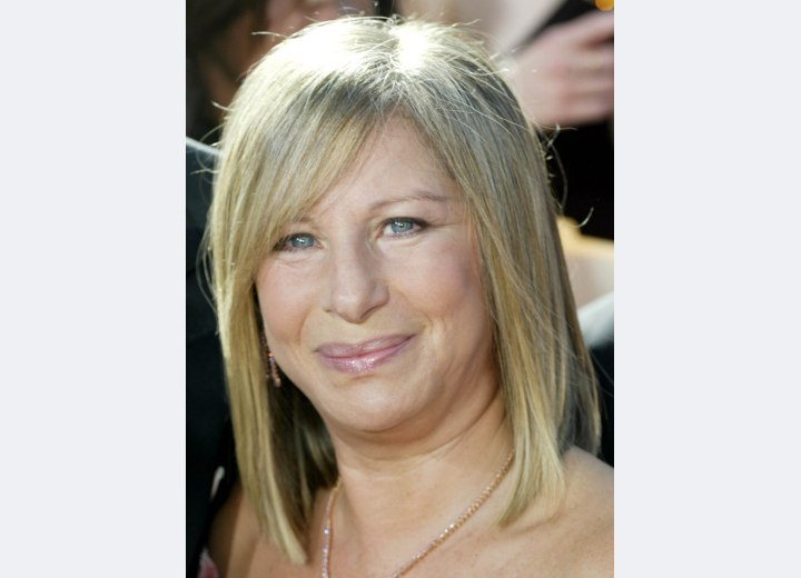 Barbara Streisand - Shoulder length blunt cut hair
