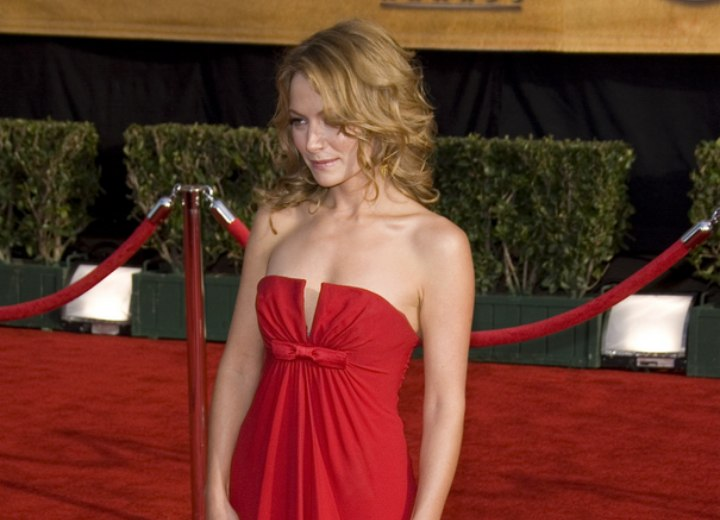 Side view of Becki Newton's hairstyle