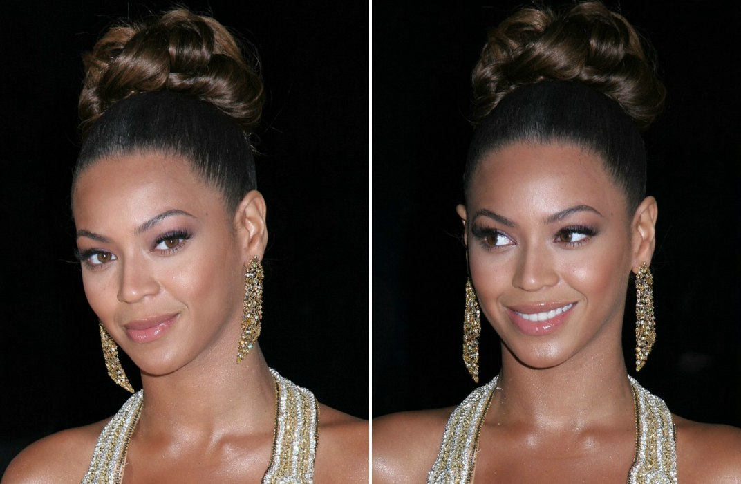 Beyonce Knowles with her hair worn up with curls in the crown
