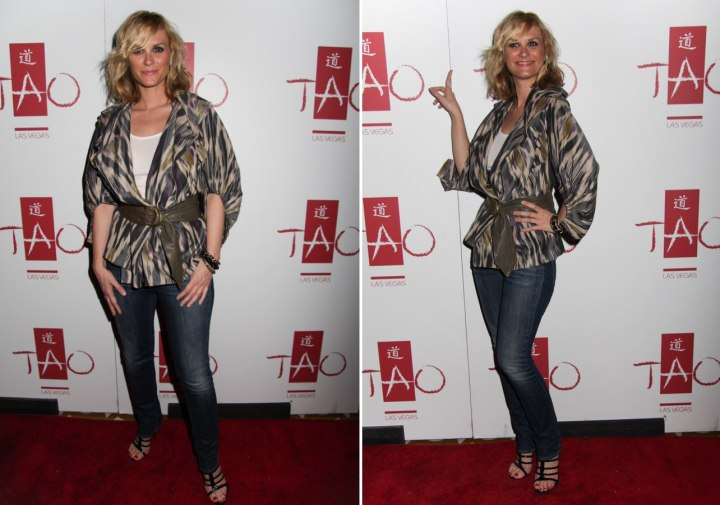 Bonnie Somerville wearing a top with grey, brown and purple
