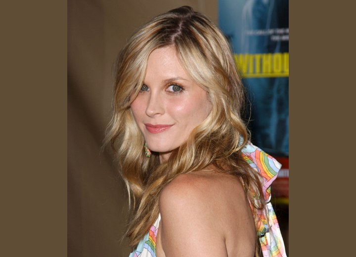 Side view of Bonnie Somerville's long hairstyle
