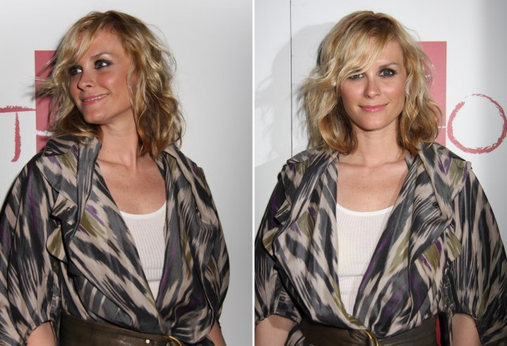 Side view of Bonnie Somerville's mid length hairstyle