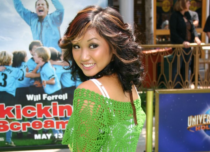 Brenda Song - Dark hair with red foils