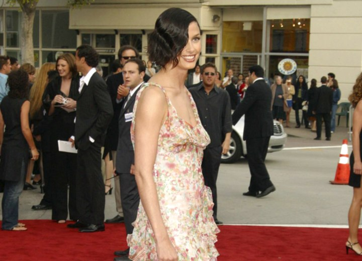 Bridget Moynahan wearing a light floral dress
