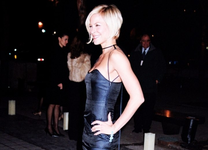Brittany Daniel wearing her hair in a short angled bob