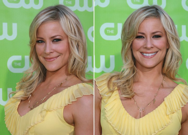 Brittany Daniel - Long hairstyle with layers and a side fringe