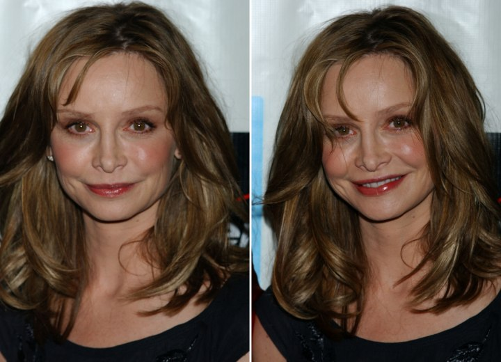 Calista Flockhart with hair that flows freely around her face