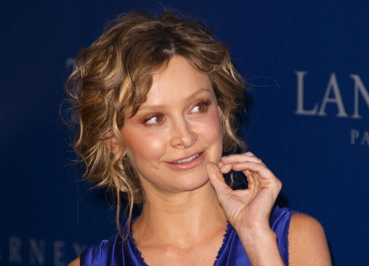 Calista Flockhart - Updo for medium length curly hair