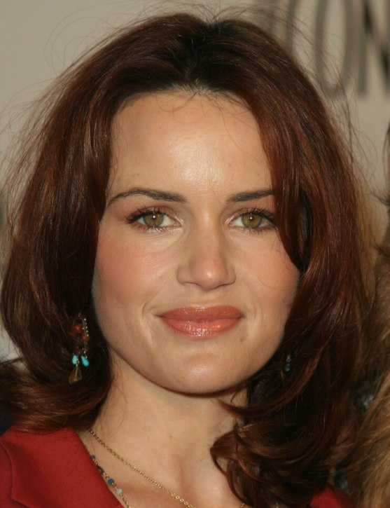 Carla Gugino Shoulder Length Hairstyle With Central Part