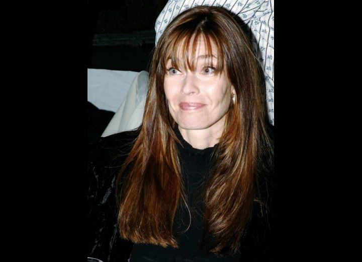Carol Alt - Hairstyle with long textured bangs