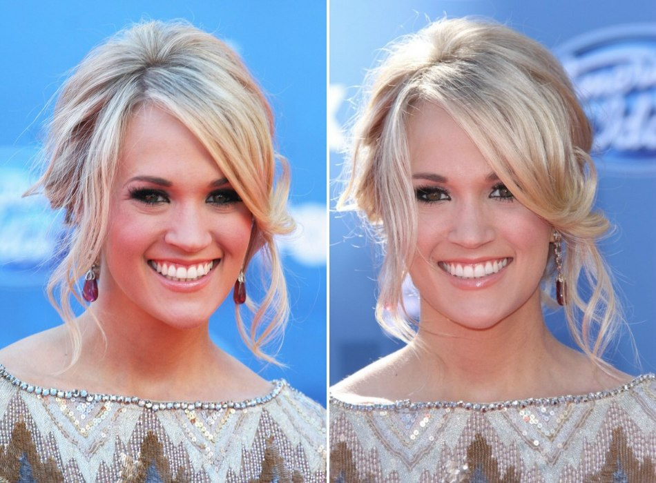 Carrie Underwood Loose Updo With Side Tendrils And Smooth Bangs