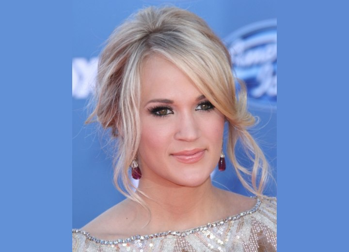 Updo with smooth side bangs - Carrie Underwood