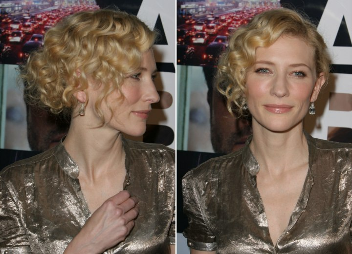 Cate Blanchett wearing her hair in a bun with curls - Side view