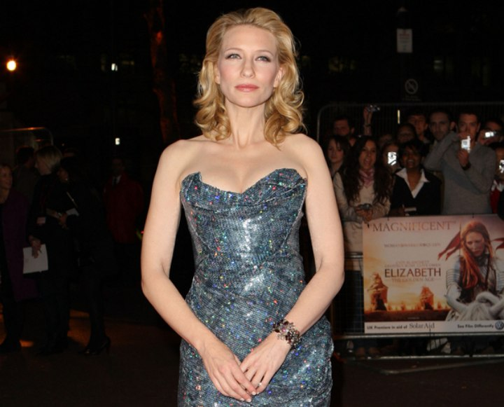 Cate Blanchett wearing a shimmery grey dress