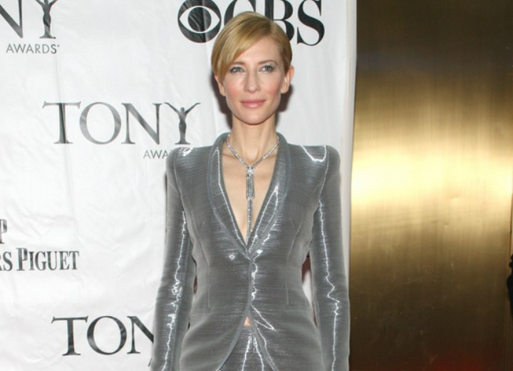 Cate Blanchett wearing a silver suit