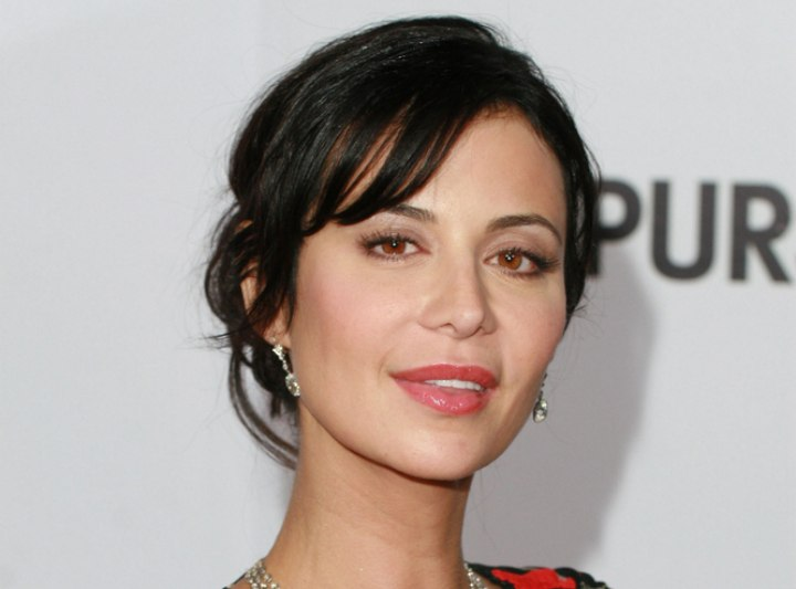 Catherine Bell - Festive hairstyle for straight hair