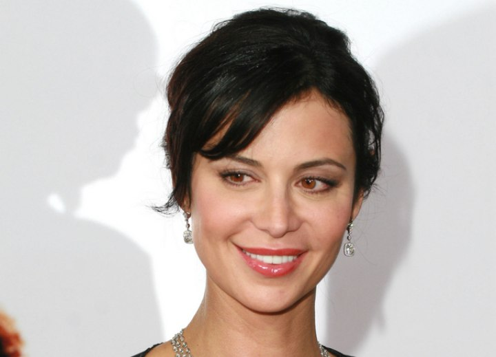 Catherine Bell - Updo with bangs and smooth hair
