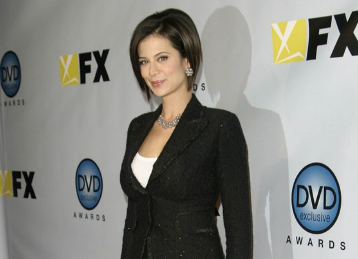 Catherine Bell - Professional look with a bob haircut, skirt and blazer