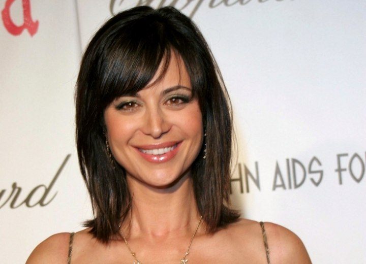 Catherine Bell - Shoulder length hairstyle with bangs
