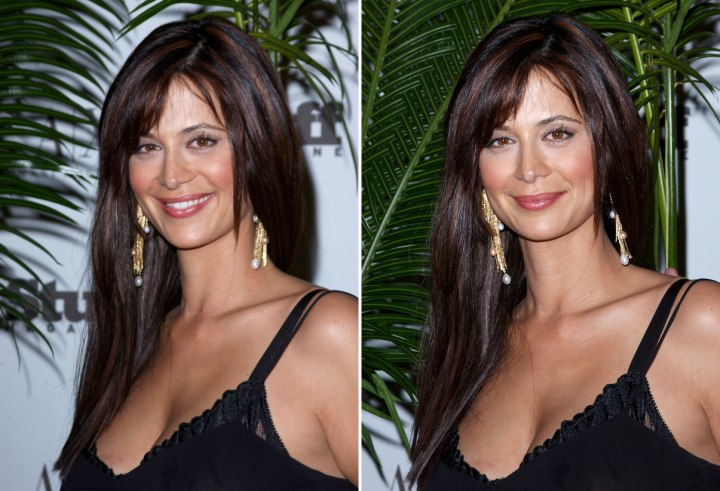 Catherine Bell - Simple long and blunt haircut