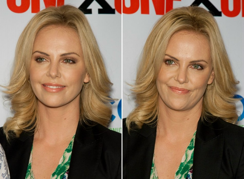Charlize Theron Wearing Her Hair In Long Layers And Curled Away From