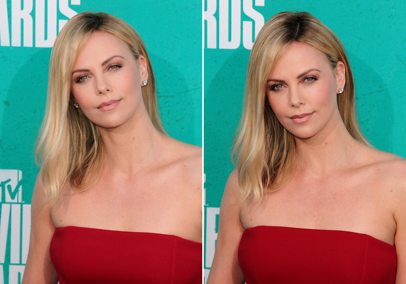 Charlize Theron With Long Hair Before Going Bald