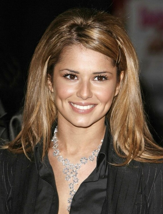 Cheryl Cole Long Shimmering Light Brown Hair Smoothed