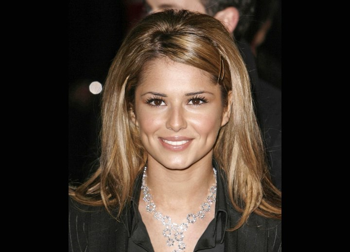 Cheryl Cole with long and shimmering brown hair