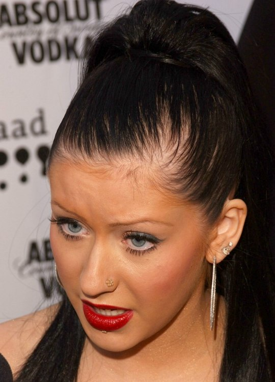 Christina Aguilera | Long black hair with extensions ...