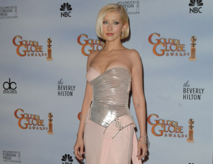 Christina Aguilera wearing a silver and light pink evening gown