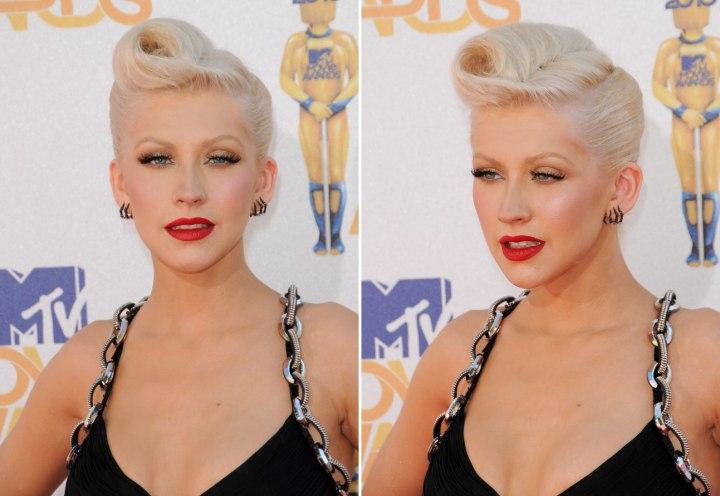 Christina Aguilera wearing her hair up and pulled back