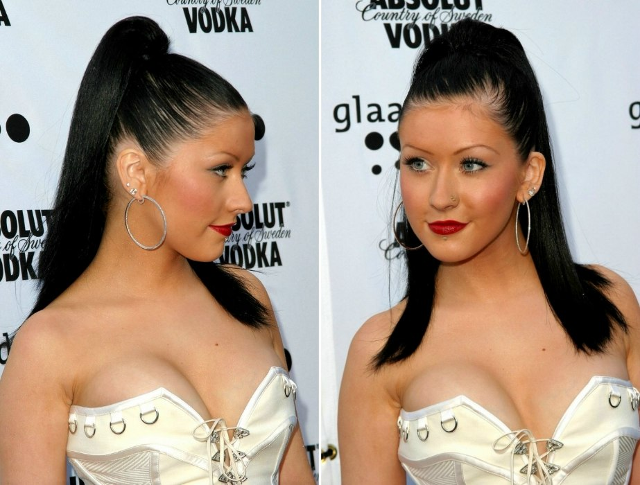 Christina Aguilera Long Black Hair With Extensions