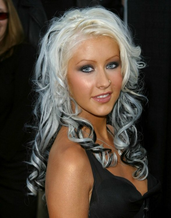 Christina Aguilera Hair Extended With Spiral Curls In