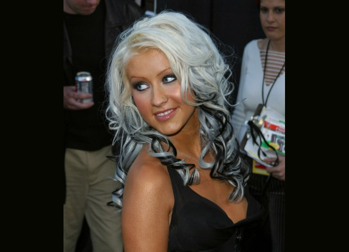 Christina Aguilera - White and black hair with spiral curls