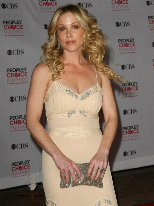 Christina Applegate With Her Long Blonde Hair Styled Into