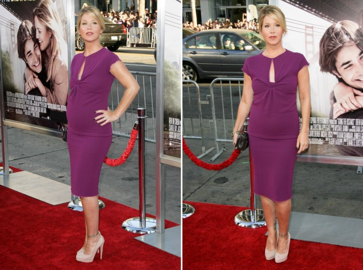 Christina Applegate wearing an orchid dress