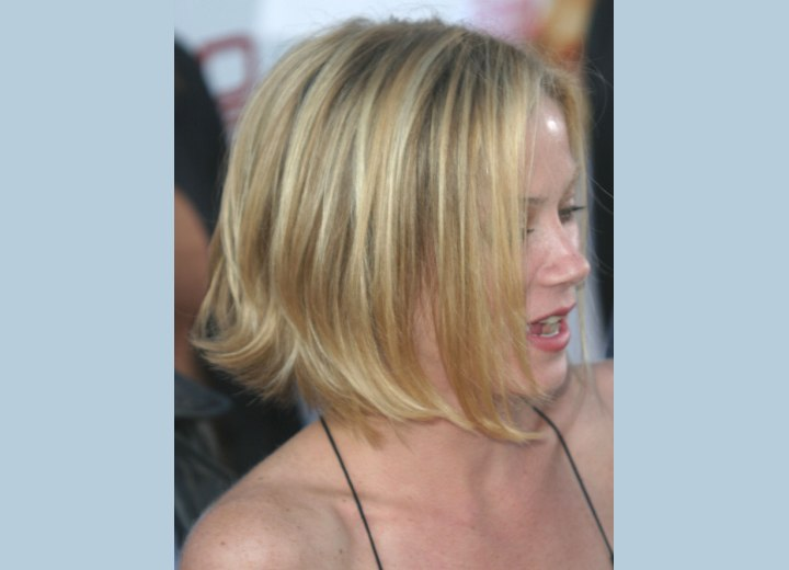 Side view of Christina Applegate's bob with the back styled outward