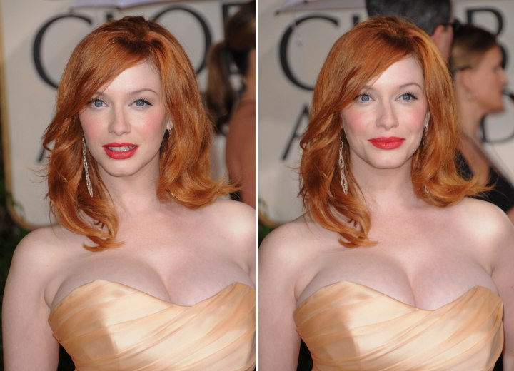 Christina Hendricks | Long red 1960s hairstyle with lazy ...