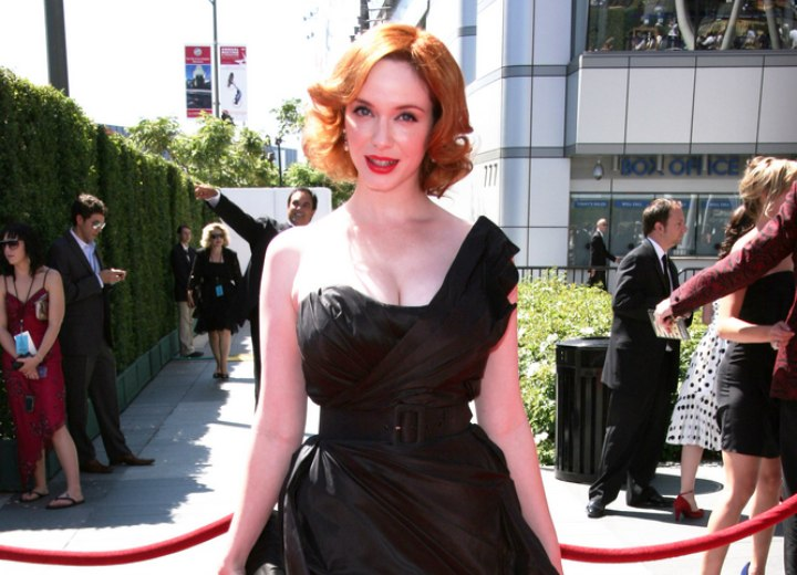 Christina Hendricks wearing a black designer gown
