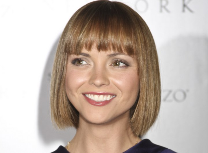 Christina Ricci - Bob hairstyle with eyebrow touching bangs