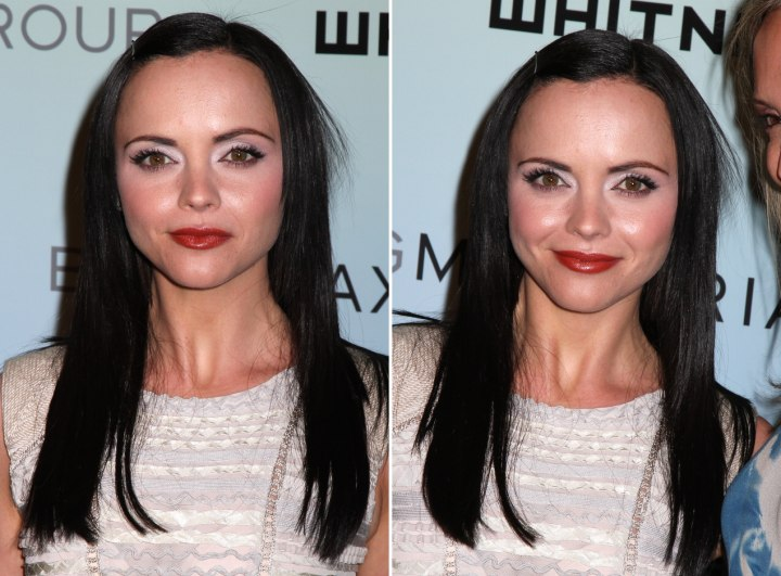 Long hairstyle with the hair off the forehead - Christina Ricci
