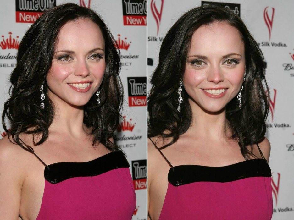 christina ricci with her long hair tapered to form a v between the