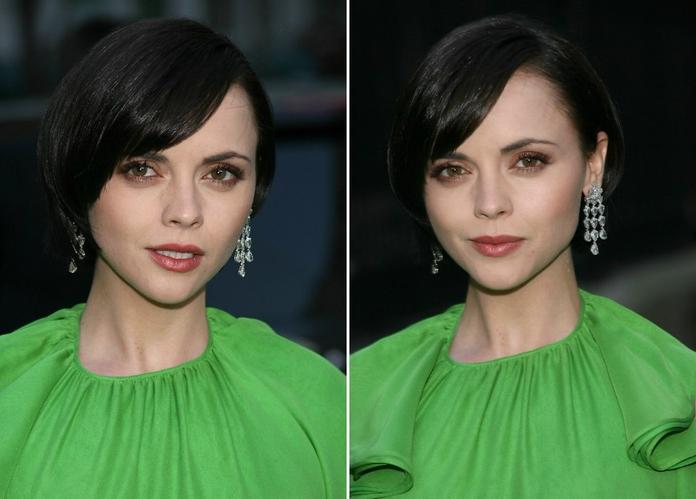christina ricci's smooth short bob that just covers one ear and