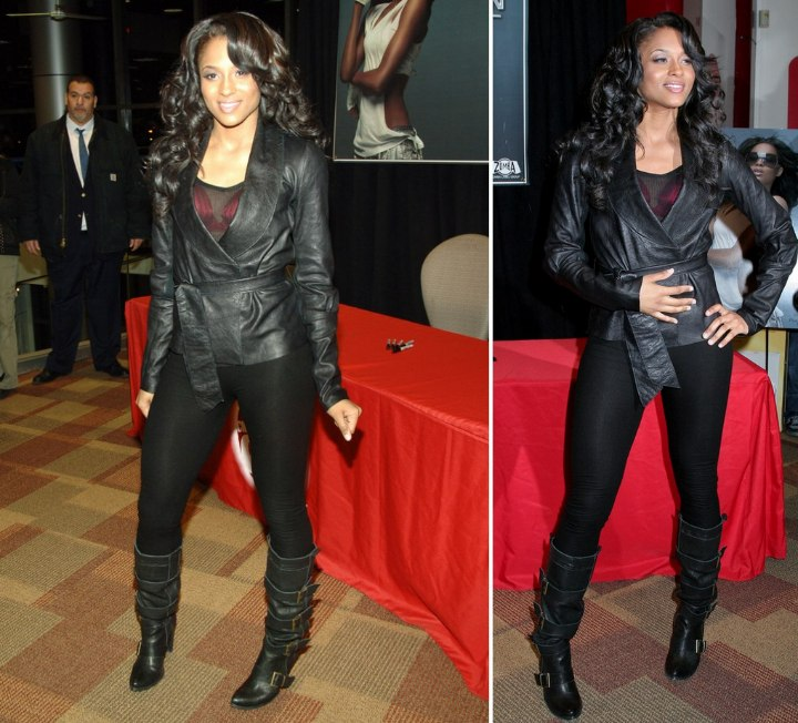 Ciara wearing a leather jacket