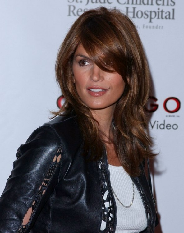 Strange Cindy Crawford Sporting A Long Easy Maintenance Hairstyle Styled Hairstyles For Men Maxibearus